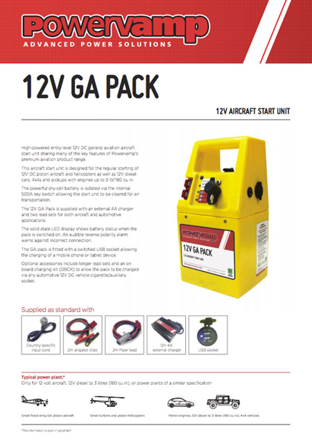 12v GA Pack Data sheet