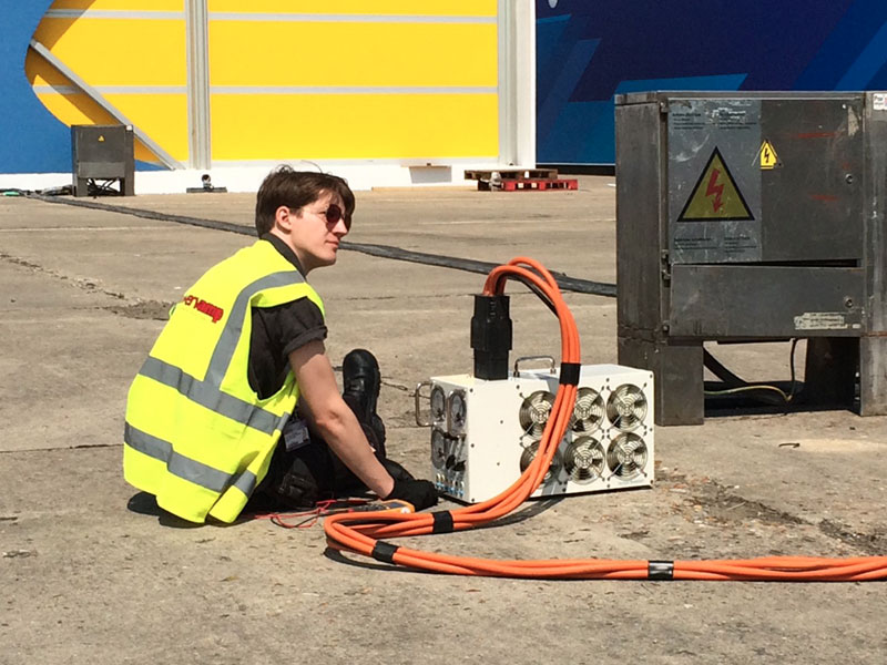 Powervamp engineers working on power supply