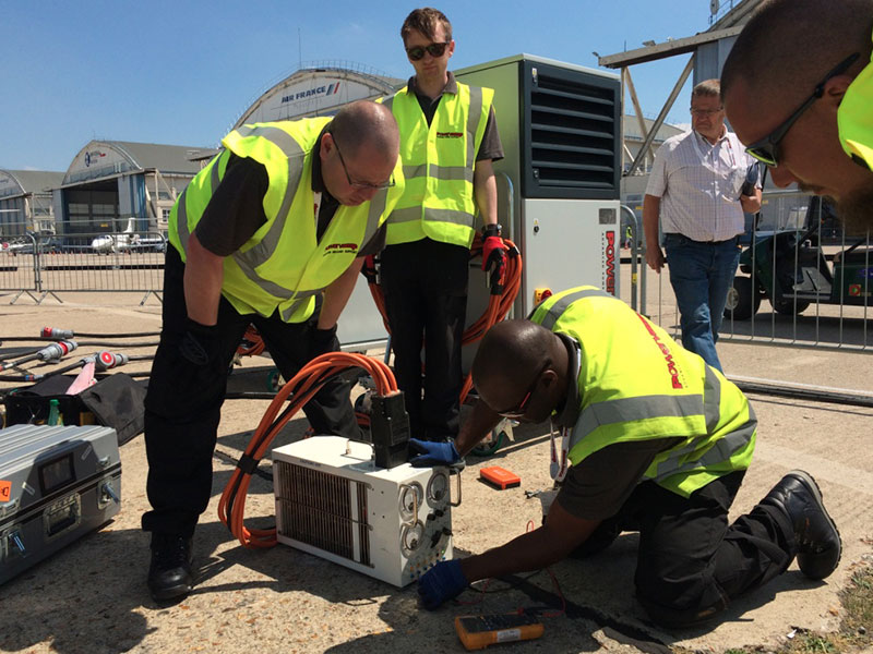 Powervamp engineers working airshow equipment