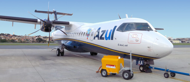Powervamp Coolspool 410 DC battery cart in daily use with Brazils Azul Airline on their fleet of ATR 72-600 aircraft